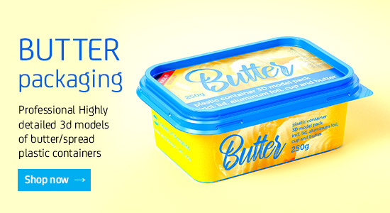 3D models of butter plastic containers for Download