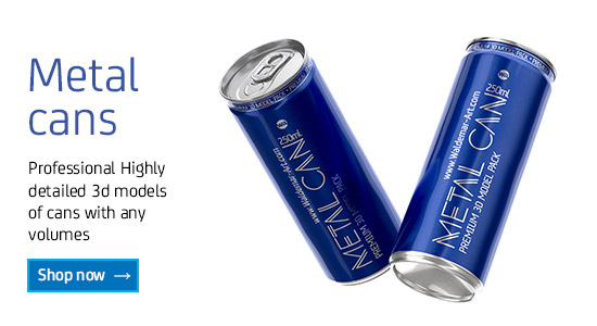 Different Metal Cans packaging 3D models