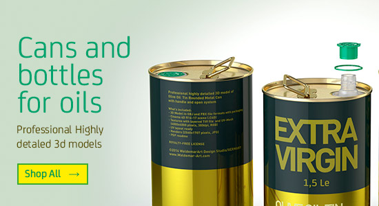 Cans and bottles for oils. Professional Highly detailed 3D models for Download