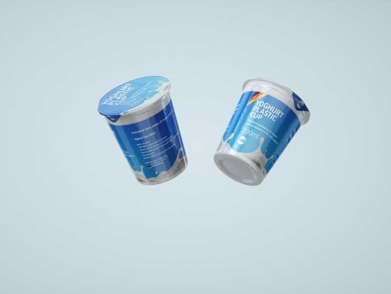 Premium Packaging 3D model of Yoghurt Plastic Cup 200ml