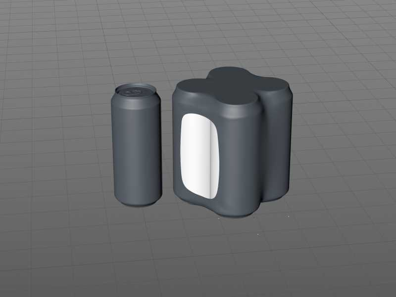 4 (four) Shrink Film packaging 3D model pack with Soda Can 473ml