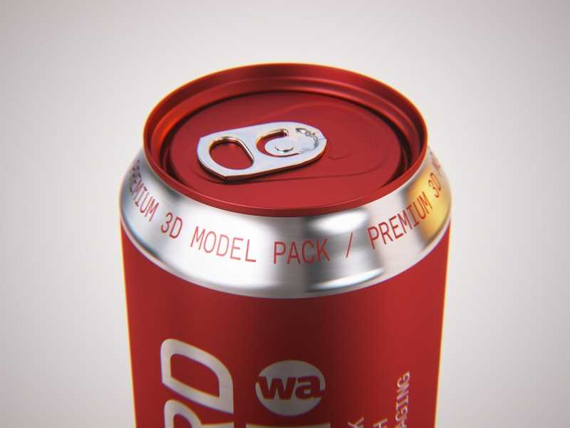 Four Shrink Film pack with Soda Can 500ml premium 3d packaging model pack