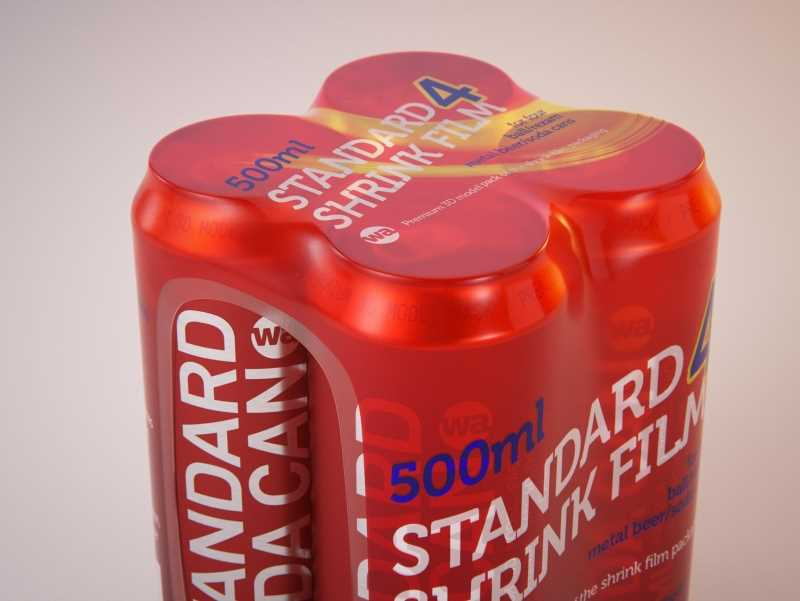 4 Shrink Film pack with Beer Can 500ml  v2 (WITHOUT WRINKLES) premium 3d packaging model pack