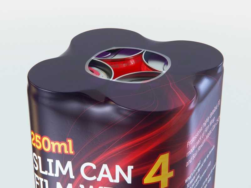 4 Film Wrap packaging for 250ml Slim Soda Can premium packaging 3D model