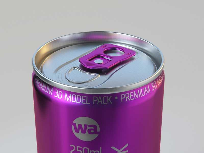 4 Shrink Wrap packaging for 250ml Slim Soda Can premium packaging 3D model