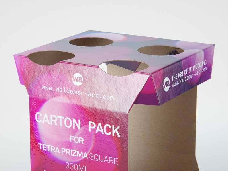 Cardboard Pack for x4 Tetra Prisma Square 330ml packaging 3d model pak