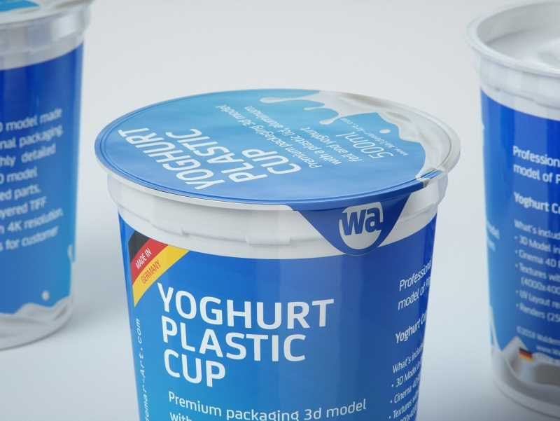Yoghurt Plastic Cup 500ml Professional packaging 3D model