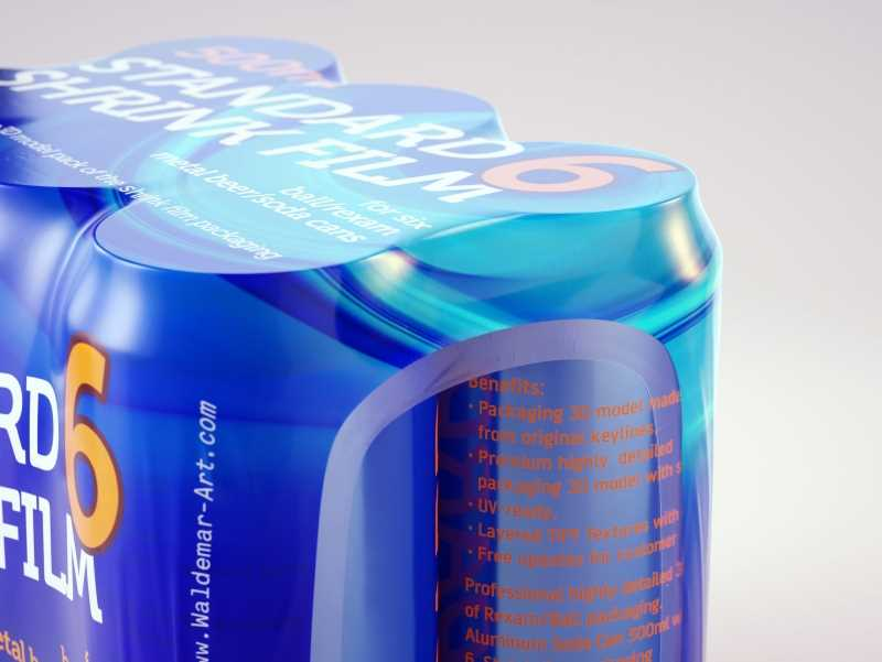 Six Shrink Film with Soda Can 500ml premium 3d packaging model pack