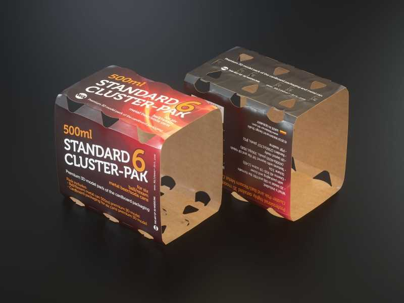 Six pack Cluster-Pak carton packaging 3d model with beer can 500ml