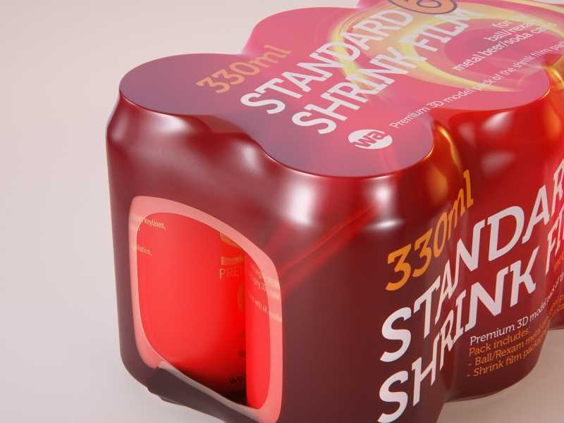 6 (six) Shrink Film pack with Standard Soda Can 330ml (WITHOUT WRINKLES) professional packaging 3D model pack