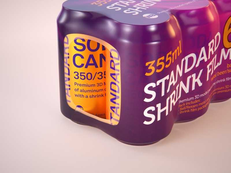 6 (six) Shrink Film pack with Soda Can 350-355ml (WITHOUT WRINKLES) professional 3d packaging model pack