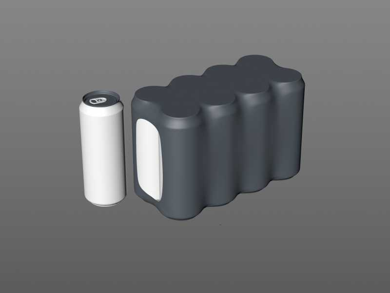 8 (eight) Shrink Film pack with Soda-Beer Can 500ml professional packaging 3D model pack