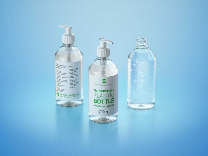 Anticeptic Gel Plastic Bottle 500ml (sharp egdes) packaging 3D model
