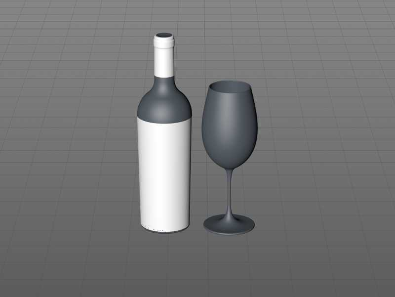 3D model of the Merlot Wine Standard Bottle 750ml with cork and glass of wine