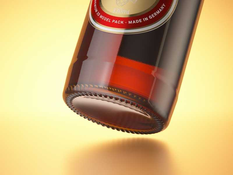 Packaging 3D model of a Beer Brown Glass Bottle 330ml with Crown cork, label and foil