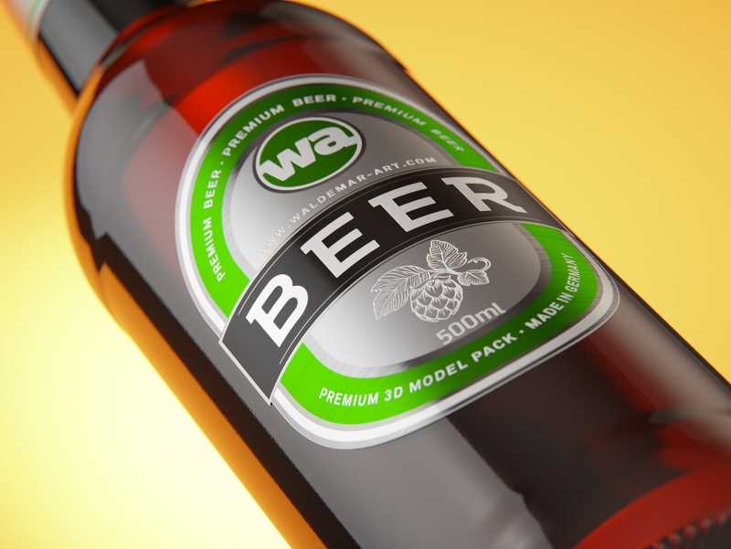 Packaging 3D model of a Beer Brown Glass Bottle 500ml (long neck) with Crown cork and label