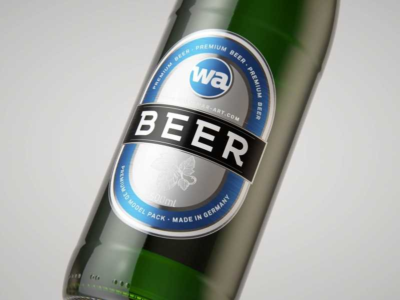 Standard Beer Bottle 3D model NRW 500ml with Crown cork and labels