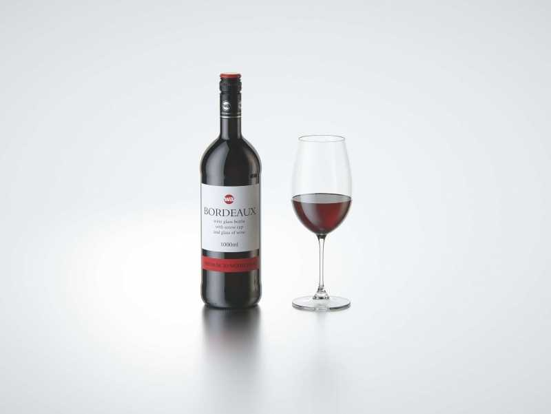 3D model of the Bordeaux Wine Standard Bottle 1000ml with Screw Cap and glass of wine