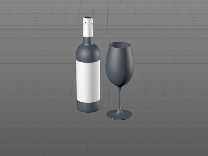 3D model of the Bordeaux Wine Standard Bottle 750ml with cork and glass of wine