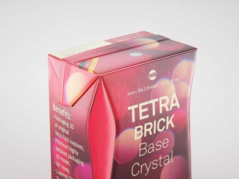 Tetra Pack Brick Base Crystal 200ml Premium packaging 3d model with a straw