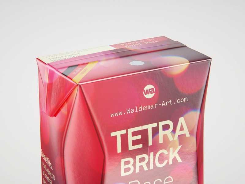 Tetra Pack Brick Base Crystal 250ml Premium packaging 3d model with a straw