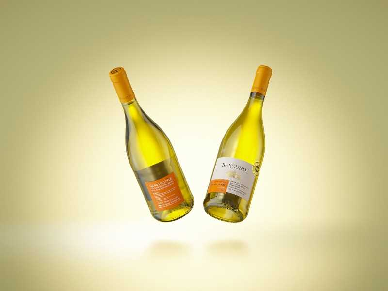 Wine bottle 3D model of Burgundy 750ml for Chardonnay wines with cork and a glass of wine
