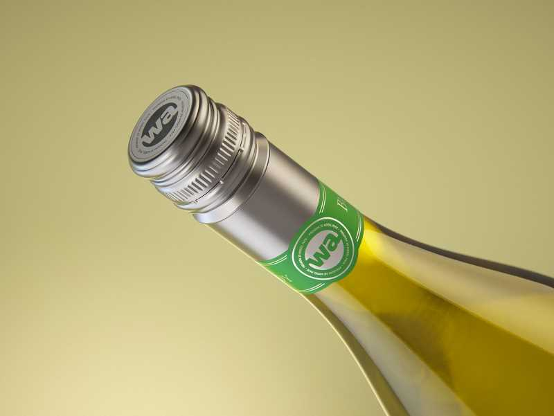 Wine bottle 3D model of Burgundy 750ml for Chardonnay with screw cap and a glass of wine