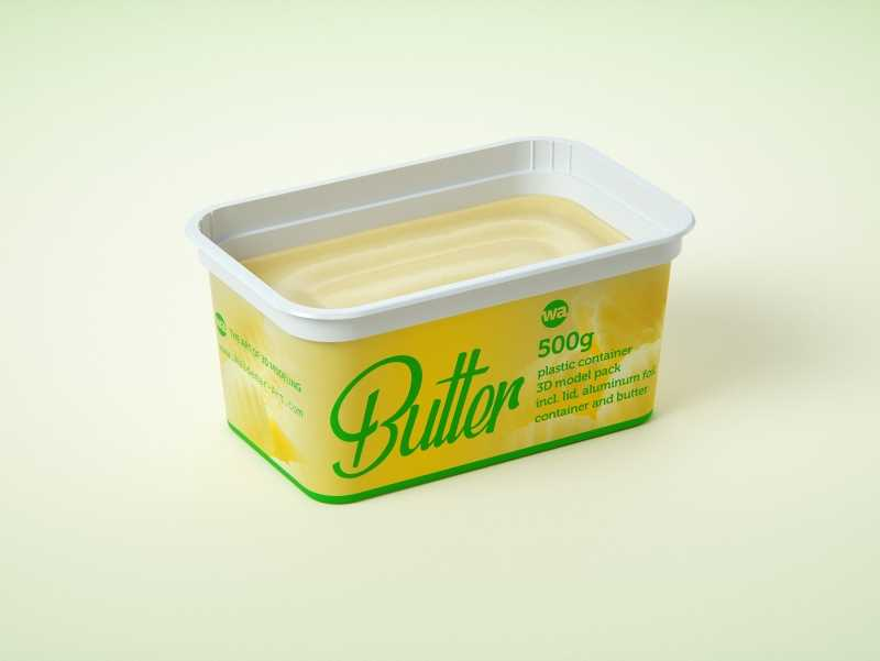 Butter Plastic Container Packagin 3D model pack 500g
