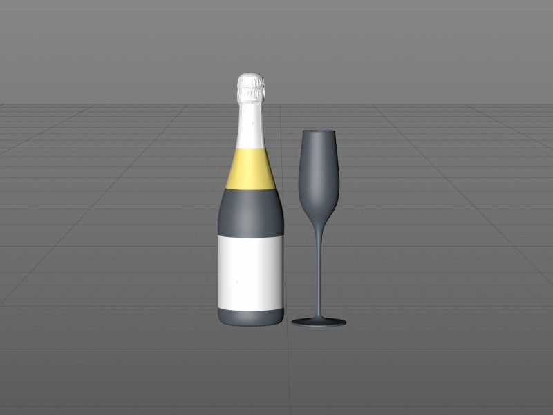 Champagne glass bottle 750ml 3d model for sparkling wine, with foil, labels, plastic cork and glass of wine
