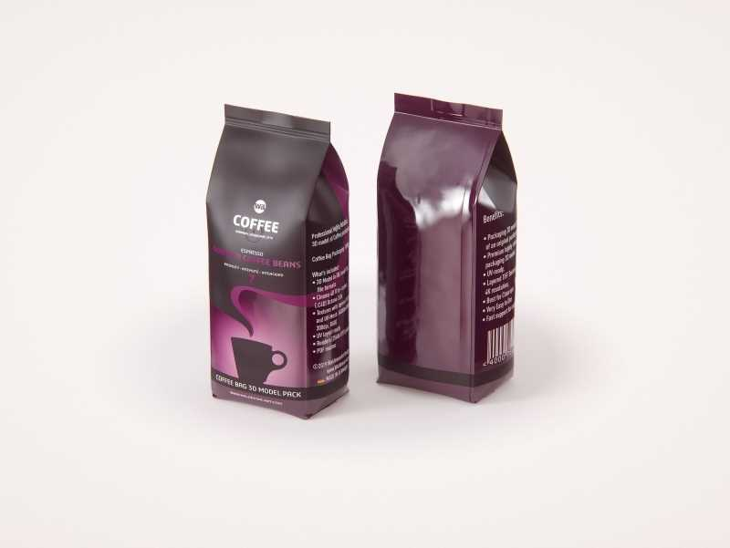 Coffee Bag 1000g (Tall) for Roasted Coffee packaging 3d model