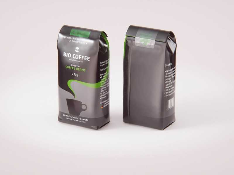Coffee Plastic Bag with a Tab 250g 3D model