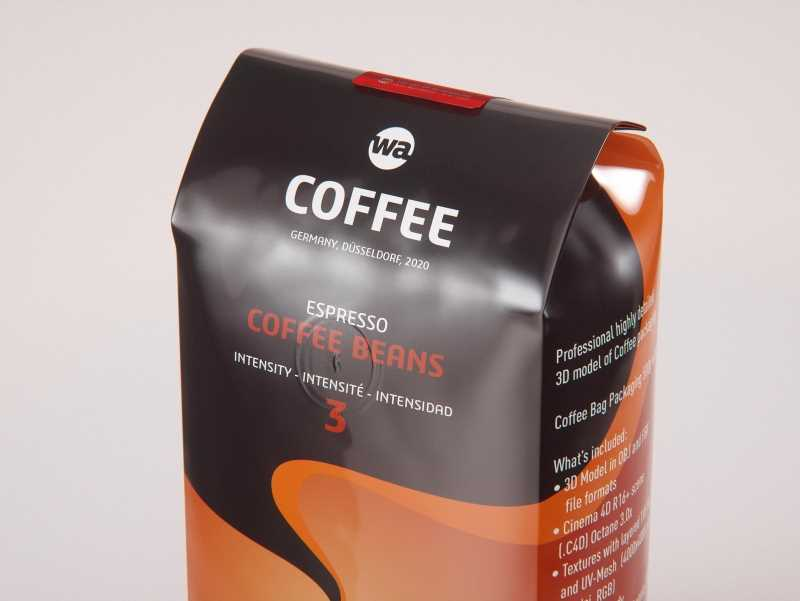 Coffee Bag packaging 3d model 500g with tab