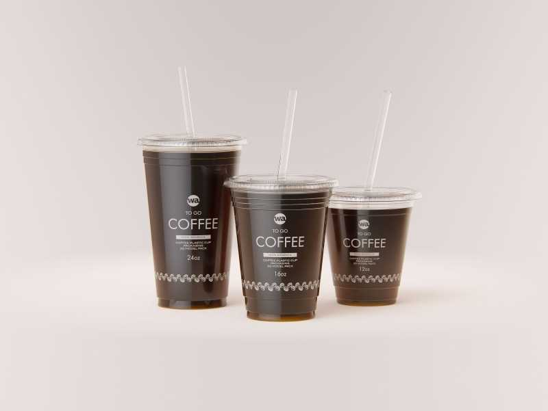 Coffee To Go - Group of Plastic Cups 3D model pack (24oz, 16oz, 12oz)