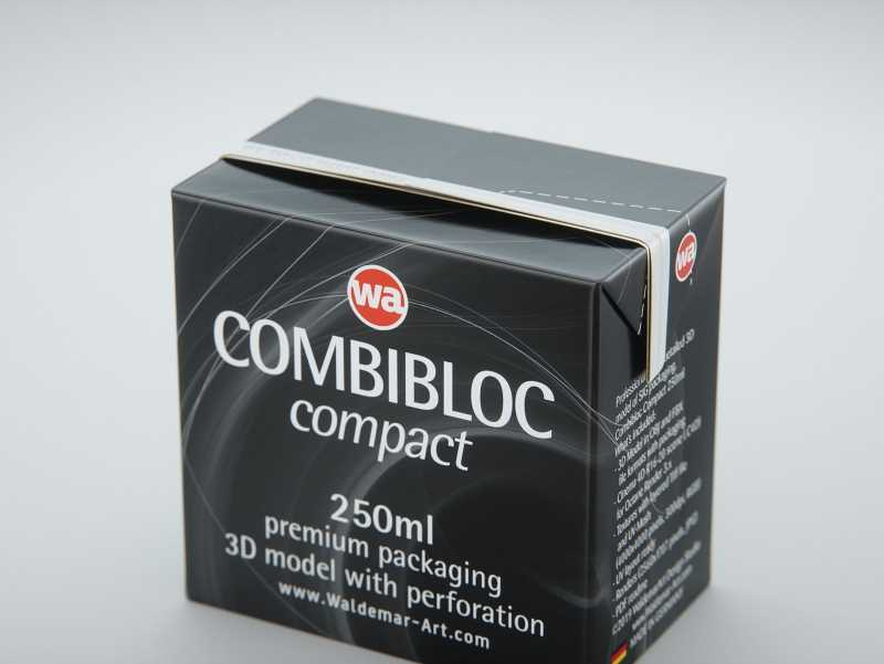 SIG combiBloc Compact 250ml with perforation, straw hole and no opening packaging 3D model