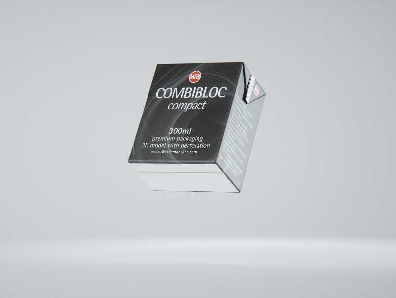 SIG combiBloc Compact 300ml with perforation, straw hole and no opening packaging 3D model
