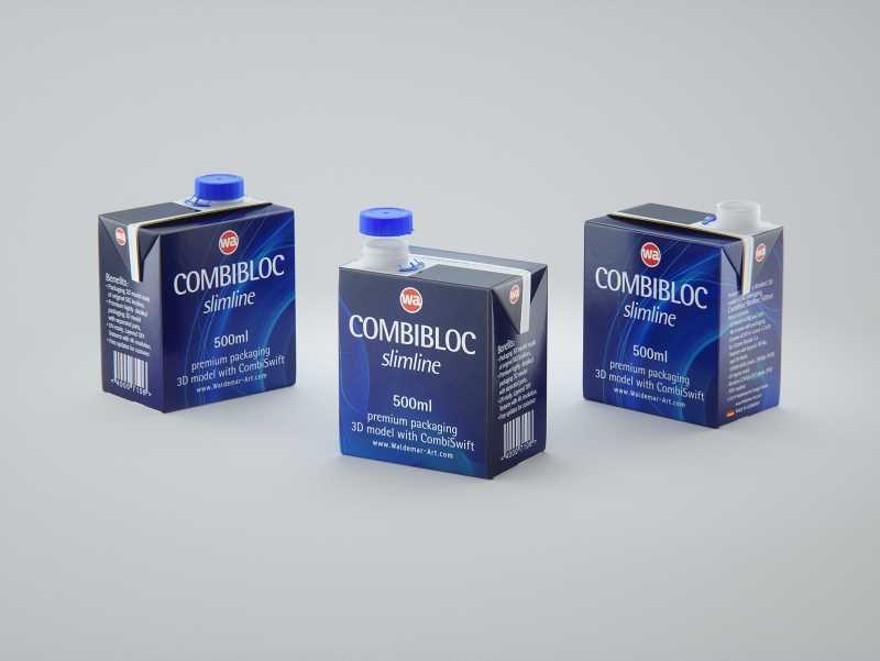 3D model of the SIG Combibloc Slimline 500ml packaging with combiSwift