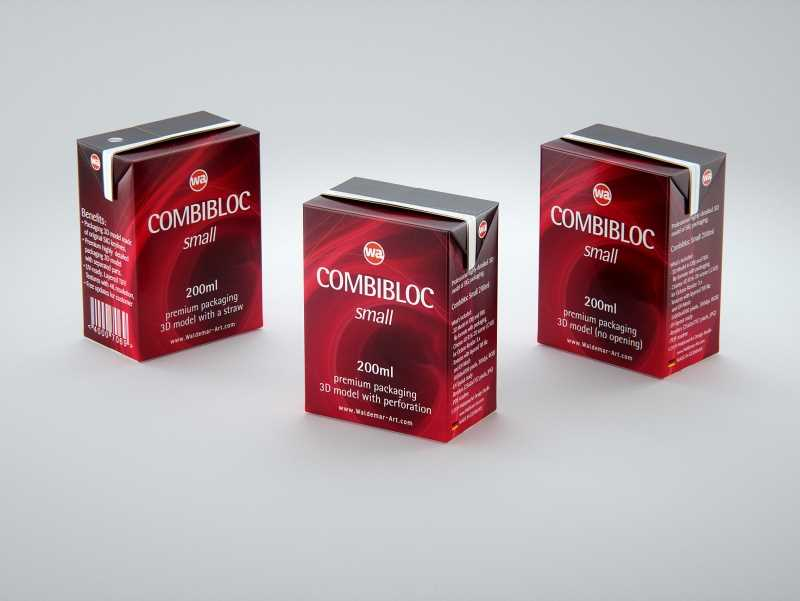 SIG CombiBloc Small 200ml with perforation and a straw hole packaging 3D model pak