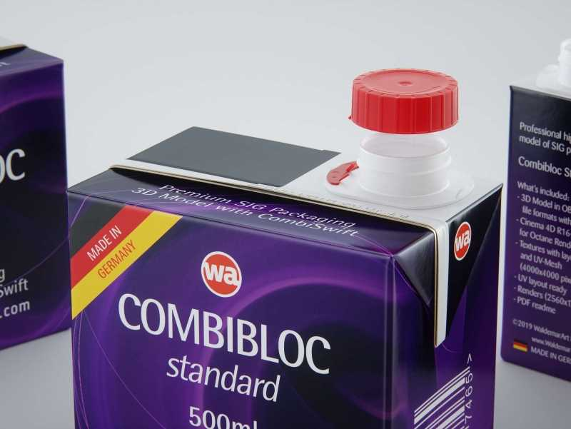 SIG Combibloc Standard 500ml packaging 3d model with CombiSwift closure