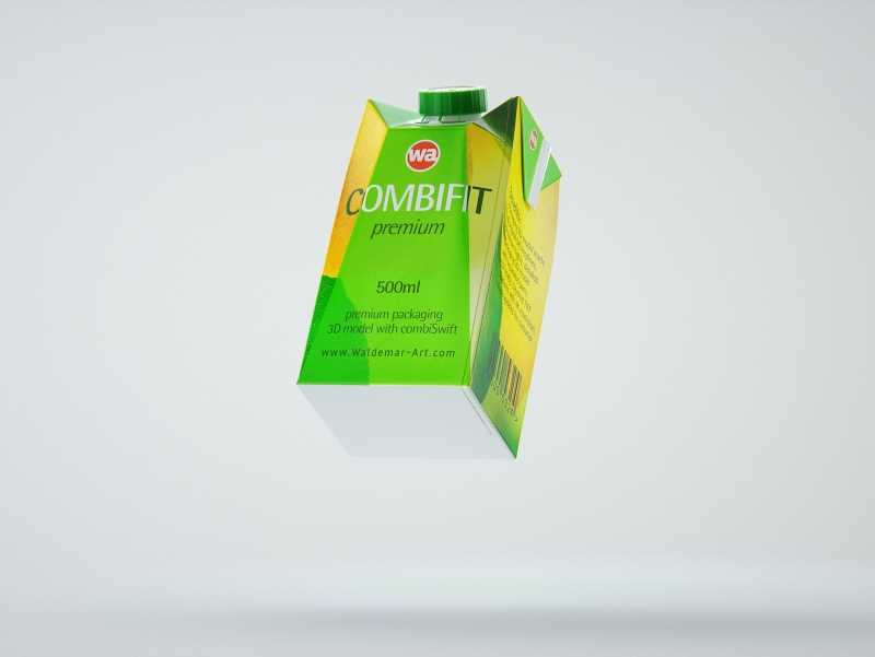 Packaging 3D model of SIG Combifit Premium 500ml with Combi-Swift closer