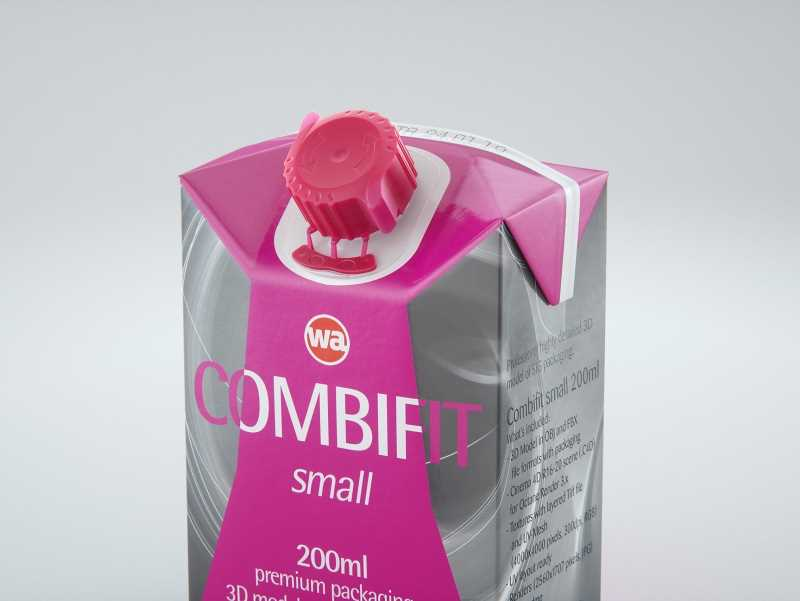SIG combiFit Small 200ml with combiSmart closure packaging 3D model