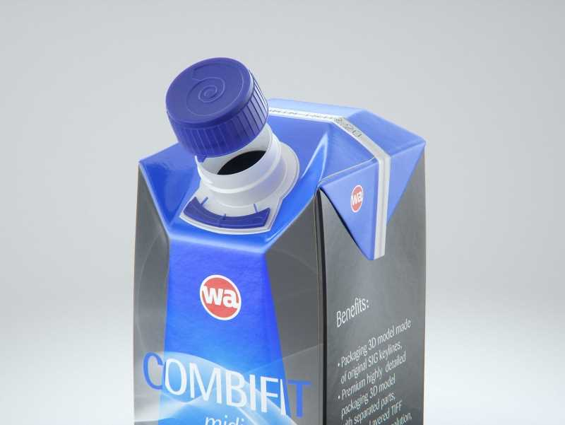 SIG Combifit Midi 750ml with CombiTwist carton packaging 3D model