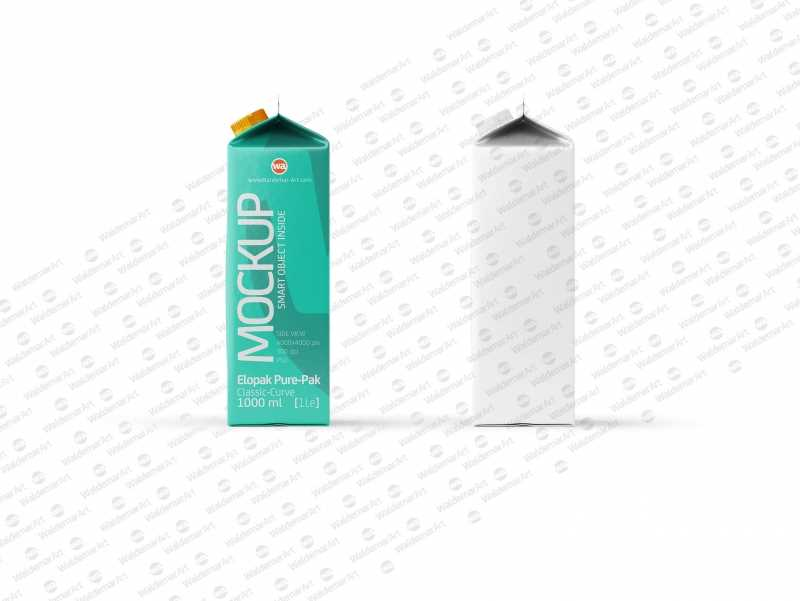 Packaging Mockup of Elopak Pure-Pak Classic-Curve 1000ml - Side view