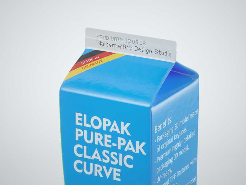 Elopak Pure-Pak Classic CURVE 1000ml (no opening) Premium carton packaging 3D model pack