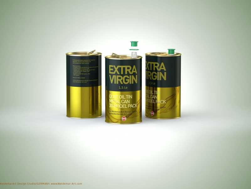 Packaging 3D model of an Olive Oil Tin Metal Can 1.5le 3D with handle