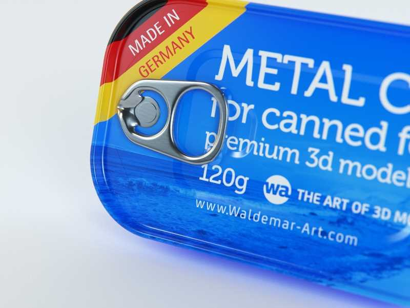 Packaging 3D model of the Metal can 120g for canned food with pull tab