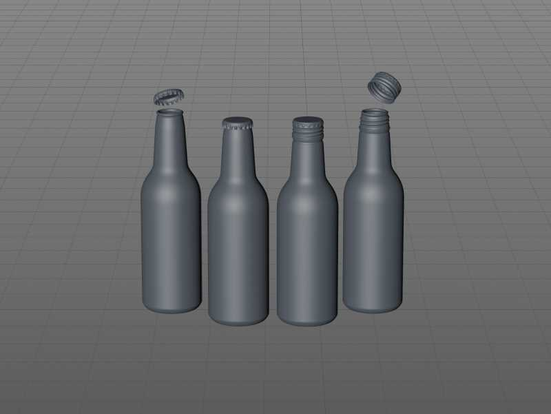 Ball/Rexam Fusion metal bottle 330ml premium 3d model with ROPP and Crown closures