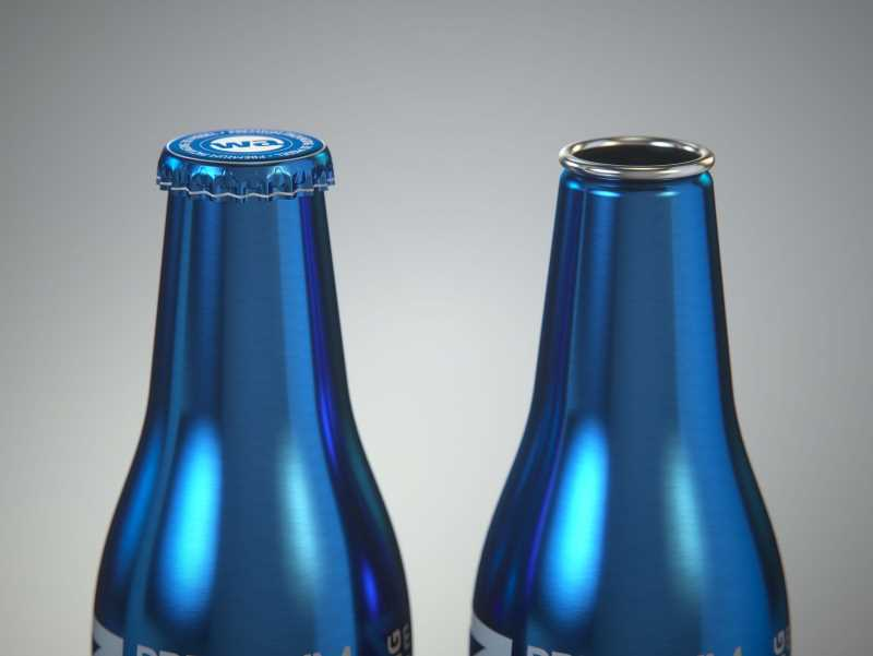 Ball/Rexam Fusion metal bottle 250ml premium 3d model with ROPP and Crown closures