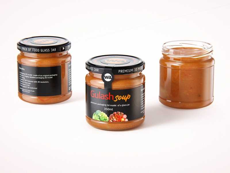 Gulash Soup Glass Jar 350ml packaging 3d model
