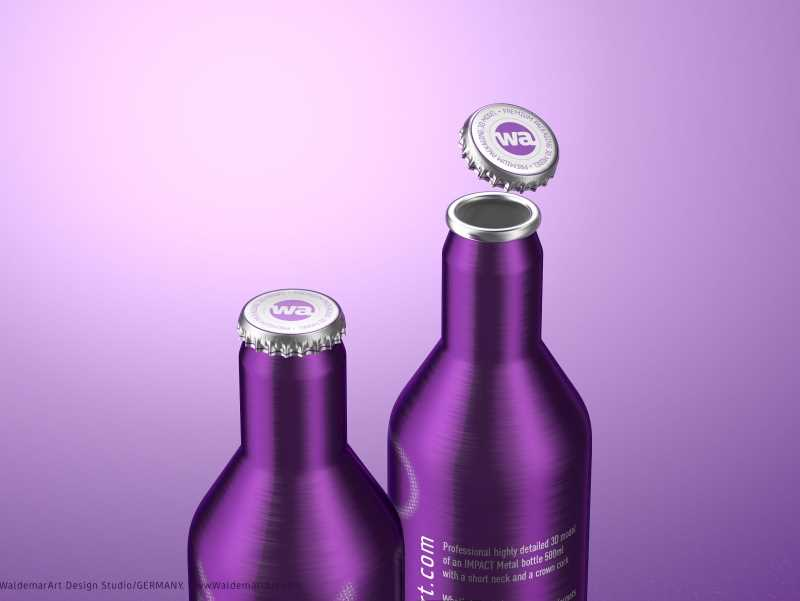 Impact Ball/Rexam metal bottles (short neck) 330 and 500ml packaging 3d model pack
