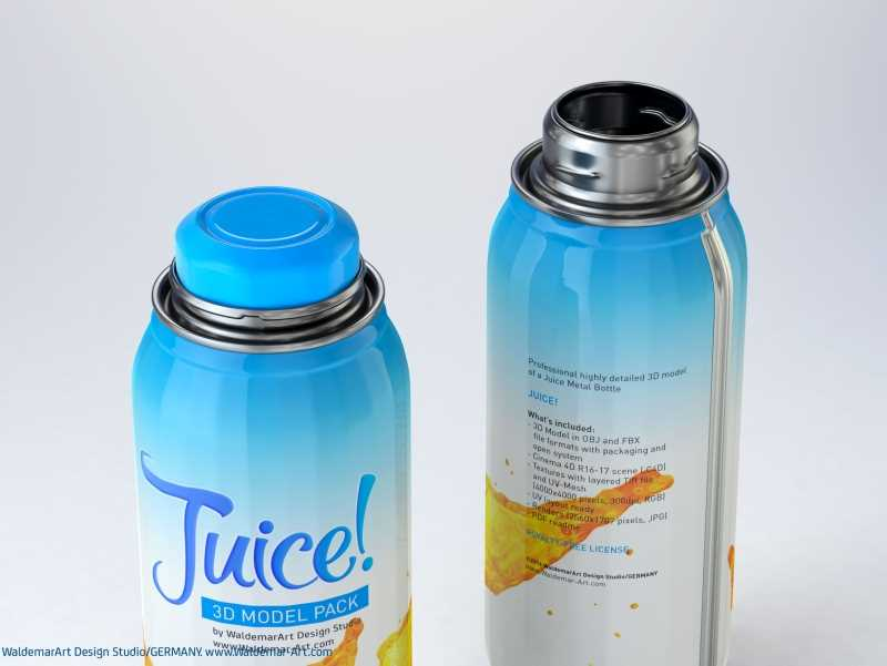 JUICY - packaging 3D model of the metal bottle for juices
